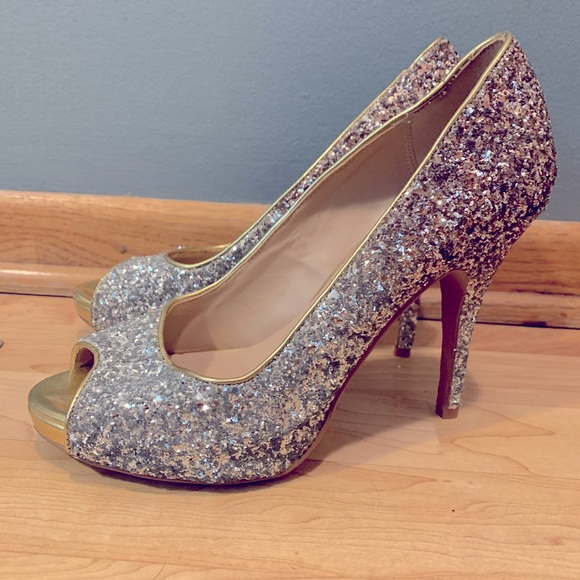 Silver And Gold Ombr Glitter Heels